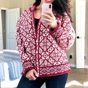 L.L BEAN Nordic Fair Isle Wool Cardigan Sweater